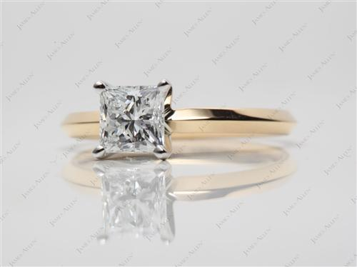 Gold 0.97 Princess cut Diamond Solitaire Engagement Ring