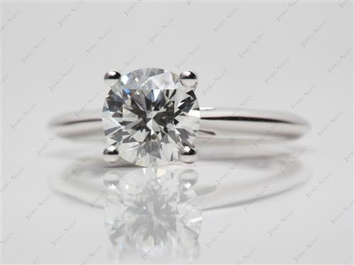 White Gold 1.62 Round cut Solitaire Diamond Rings