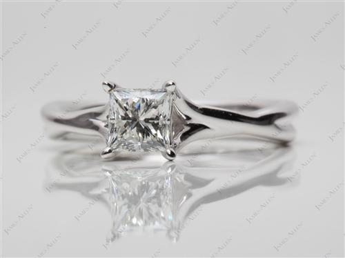 White Gold 0.62 Princess cut Engagement Rings