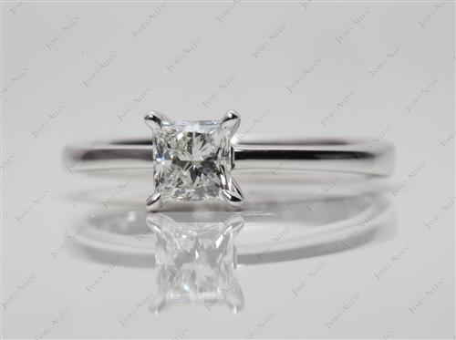 White Gold 0.60 Princess cut Solitaire Diamond Rings