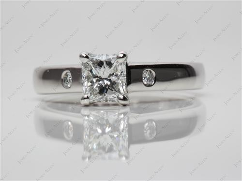 Platinum 0.97 Radiant cut Engagement Rings