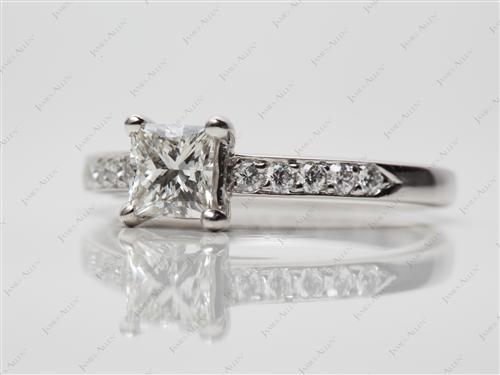 Platinum 0.75 Princess cut Pave Ring Settings