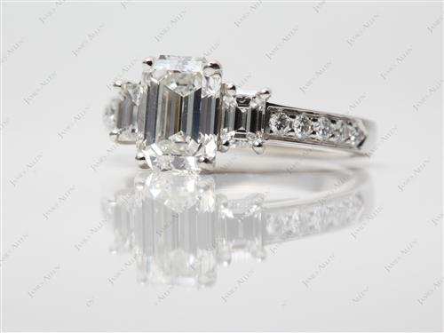 Platinum 1.53 Emerald cut Three Stones Diamond Rings