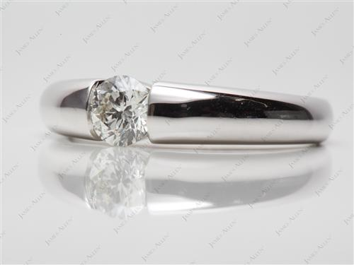 White Gold 0.50 Round cut Tension Set Diamond Ring