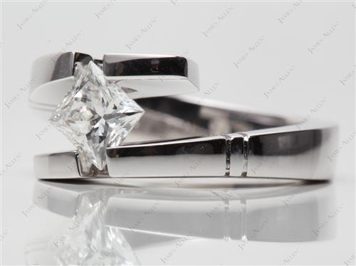 White Gold 1.00 Princess cut Tension Rings