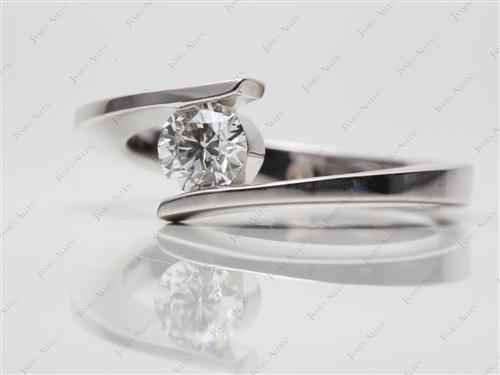 White Gold 0.51 Round cut Solitaire Ring Mountings