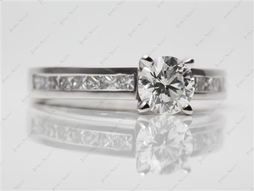 White Gold 0.76 Round cut Channel Setting Ring