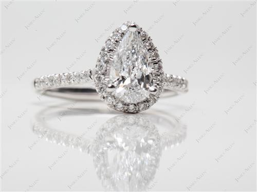 White Gold 0.69 Pear shaped Pave Ring Set