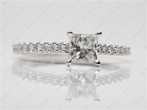Platinum 0.70 Princess cut Side Stone Engagement Ring