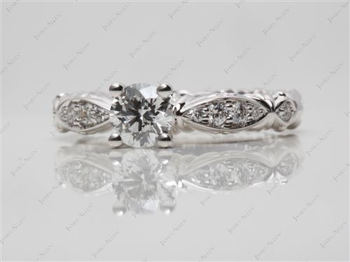 White Gold 0.51 Round cut Diamond Rings