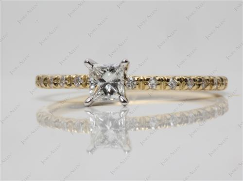 Gold 0.30 Princess cut Pave Diamond Engagement Ring