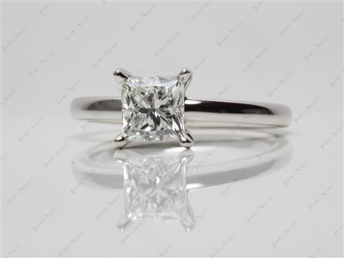 Platinum 1.05 Princess cut Solitaire Engagement Rings