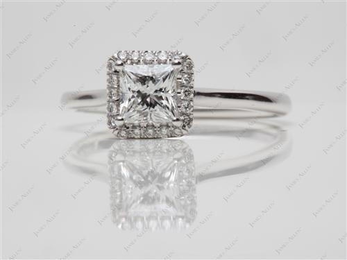 White Gold 0.70 Princess cut Pave Diamond Engagement Rings