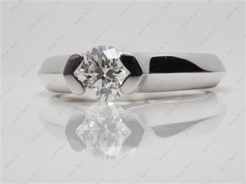 White Gold 1.00 Round cut Diamond Ring