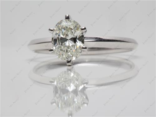 White Gold 0.91 Oval cut Solitaire Engagement Ring