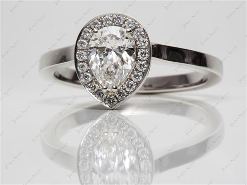 Platinum 1.09 Pear shaped Pave Diamond Rings