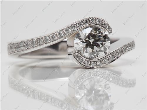 White Gold 0.90 Round cut Tension Diamond Ring