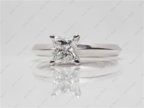 White Gold 1.00 Princess cut Diamond Solitaire Engagement Ring