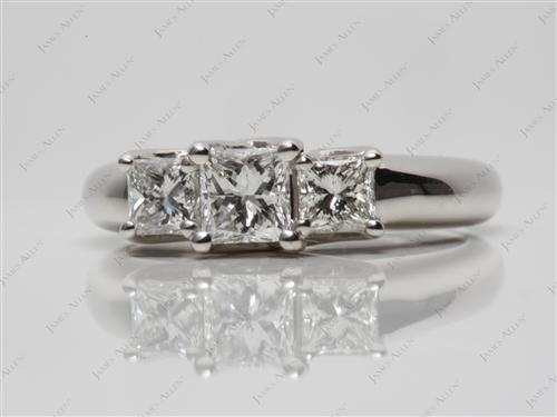 Platinum 0.50 Princess cut Three Stones Ring