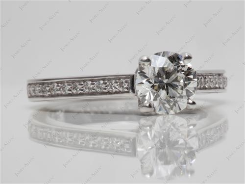 White Gold 1.01 Round cut Micro Pave Engagement Rings