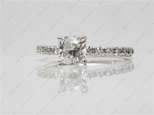 White Gold 1.00 Cushion cut Micro Pave Engagement Rings