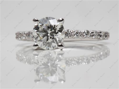 White Gold 1.17 Round cut Pave Engagement Rings