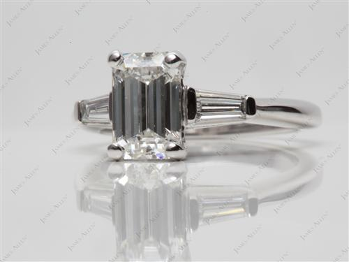 Platinum 1.73 Emerald cut Side Stone Engagement Rings