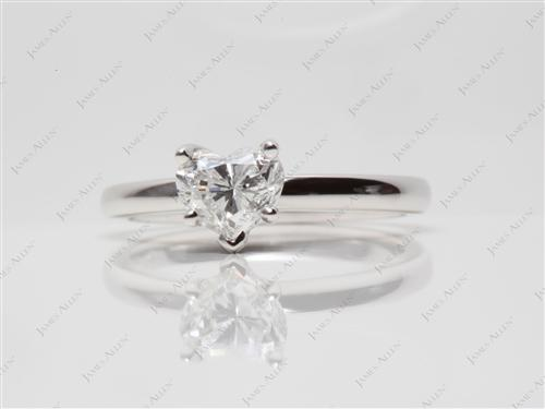 White Gold 0.73 Heart shaped Diamond Ring