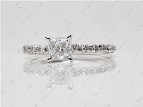 White Gold 0.70 Princess cut Pave Diamond Ring