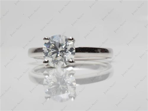 Platinum 1.04 Round cut Diamond Solitaire Engagement Ring