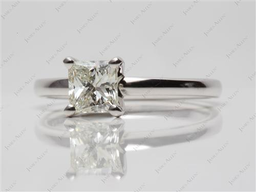 White Gold 0.80 Princess cut Round Solitaire Ring
