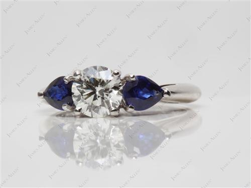 Platinum 0.90 Round cut Gem Stone Rings