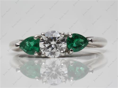 Platinum  Gemstone Engagement Ring