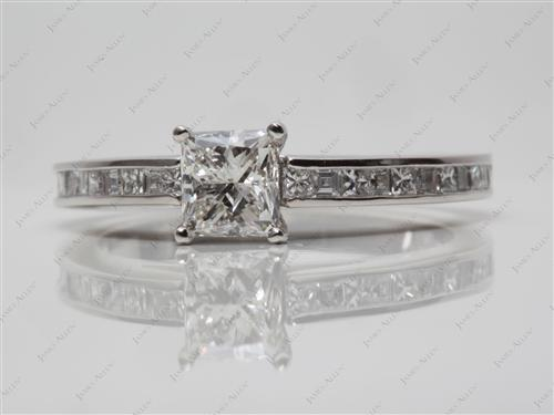 Platinum 0.92 Princess cut Channel Set Diamond Engagement Rings