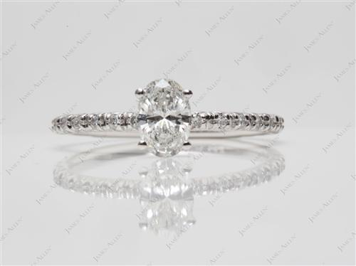 White Gold 0.51 Oval cut Micro Pave Ring