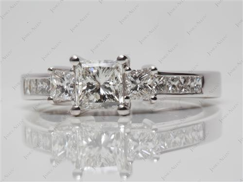 White Gold 0.70 Princess cut Three Stones Settings