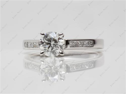 White Gold 0.80 Round cut Channel Setting Engagement Ring