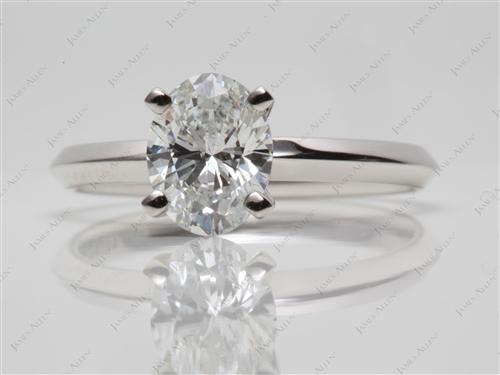 White Gold 1.07 Oval cut Diamond Engagement Solitaire Rings