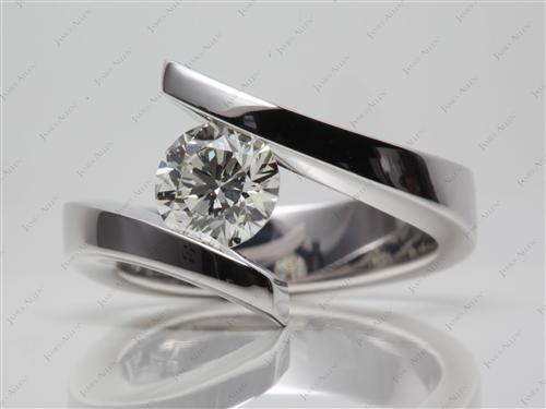 White Gold 1.20 Round cut Diamond Ring