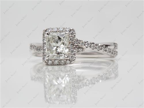 White Gold 0.91 Radiant cut Pave Ring Settings