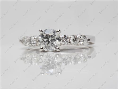 Platinum 0.81 Round cut Side Stone Engagement Ring