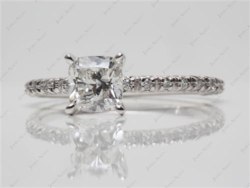 White Gold 0.80 Cushion cut Engagement Ring