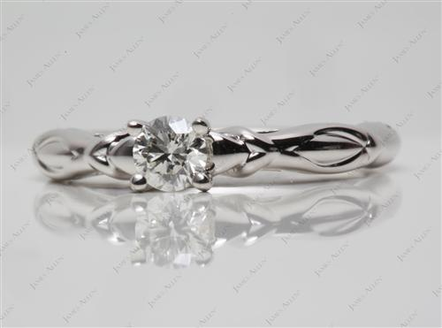 White Gold 0.31 Round cut Solitaire Ring Settings