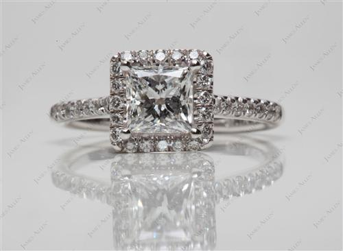 White Gold 0.91 Princess cut Engagement Rings Pave