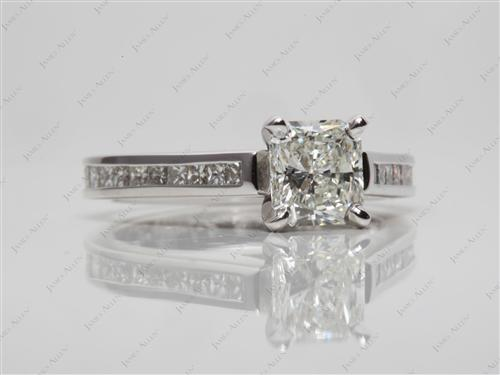 White Gold 1.01 Radiant cut Diamond Channel Rings