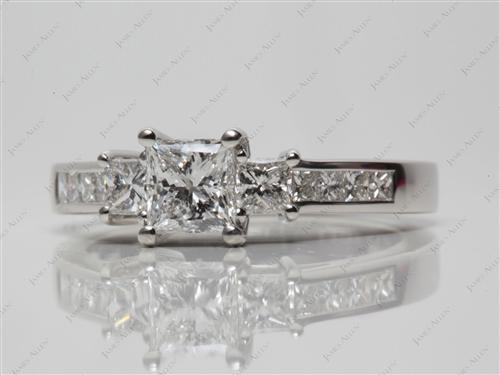 Platinum 0.71 Princess cut Three Stones Diamonds Rings