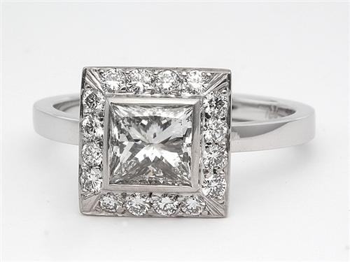 White Gold 1.00 Princess cut Pave Ring Setting