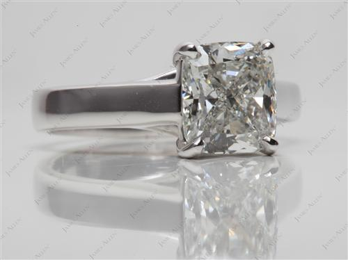 Platinum 3.02 Cushion cut Solitaire Ring Mountings