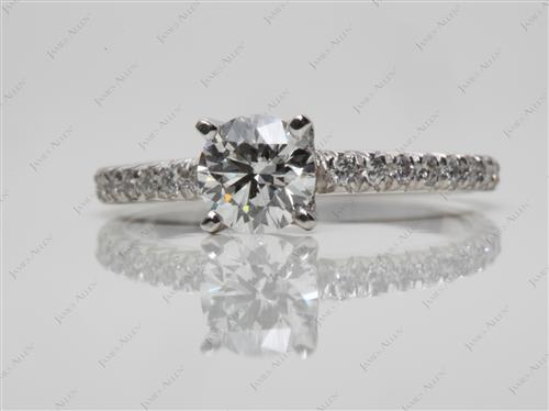 Platinum 0.56 Round cut Diamond Pave Ring