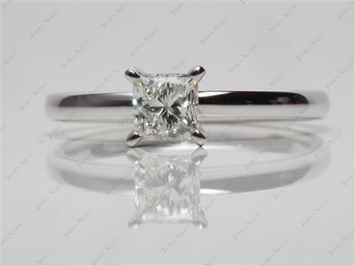 White Gold 0.60 Princess cut Round Solitaire Ring